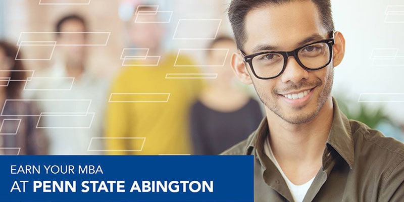 Limestone geometric example - student with glasses in the foreground with blurred out students in the background, white limestone brick outline on left and text in blue bar on the bottom left stating
