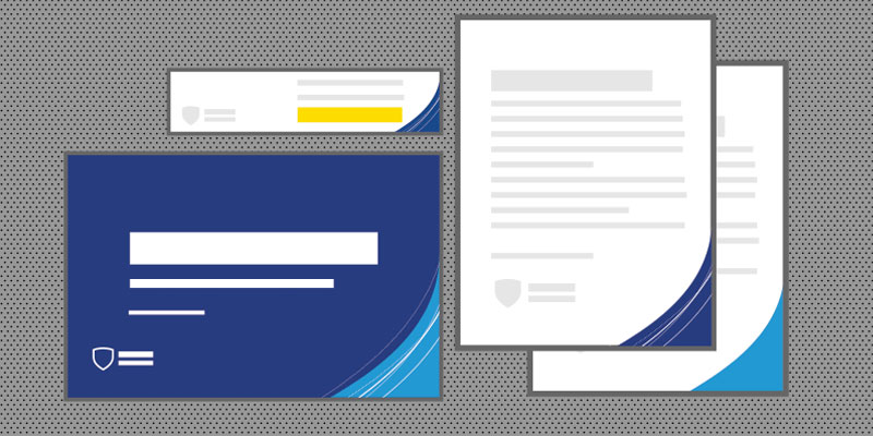 Corner Shield example - Graphic of documents with corner shield on the right.