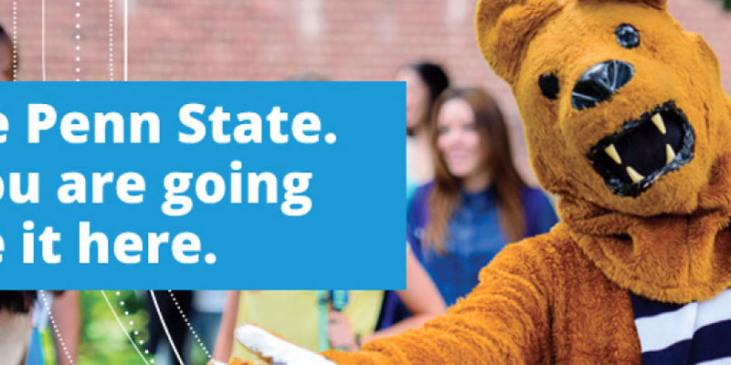 Example Design: Nittany lion on the right with his arms open and some text on the left with the white outline shield in the background
