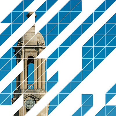 The HUB geometric over a photo of Old Main