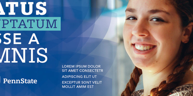 Overlay example - photo of a student on right with numerous transparent overlay on top of each other on left with white Lorem ipsum text on top.