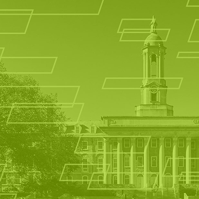 Limestone geometric example - photo of Penn State Old Main with white limestone brick design and lime color overlay