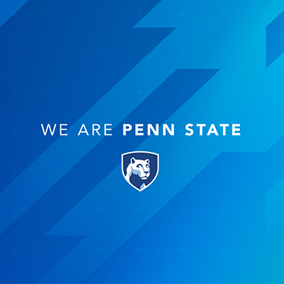 Hub geometric example - Blue and dark blue background with solid light blue of the hub geometric design with the We Are Penn State and Penn State mark in the middle of the design.