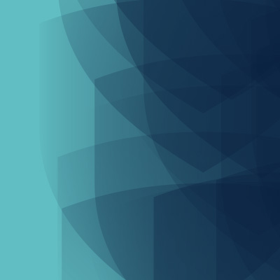 Multiple slightly transparent navy shield overlaying each other with a teal background