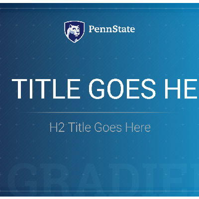 Video template example with Penn State mark at the top and example Title text over blue background