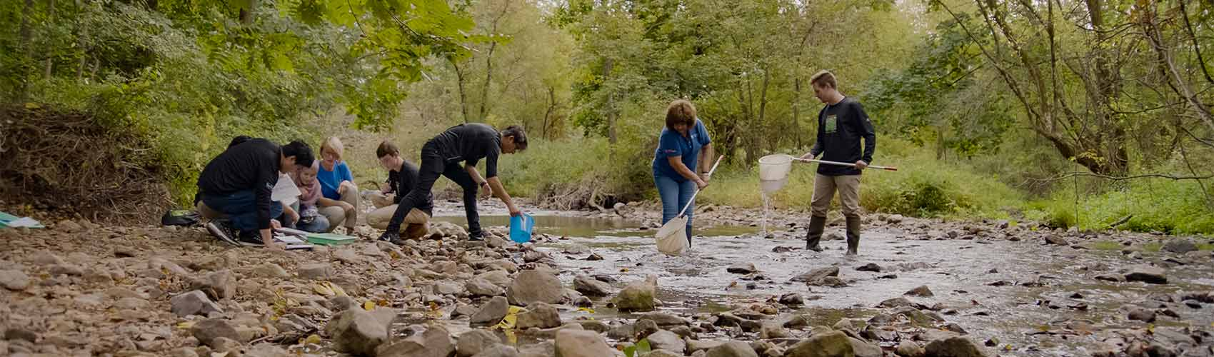 students and professors working at a stream